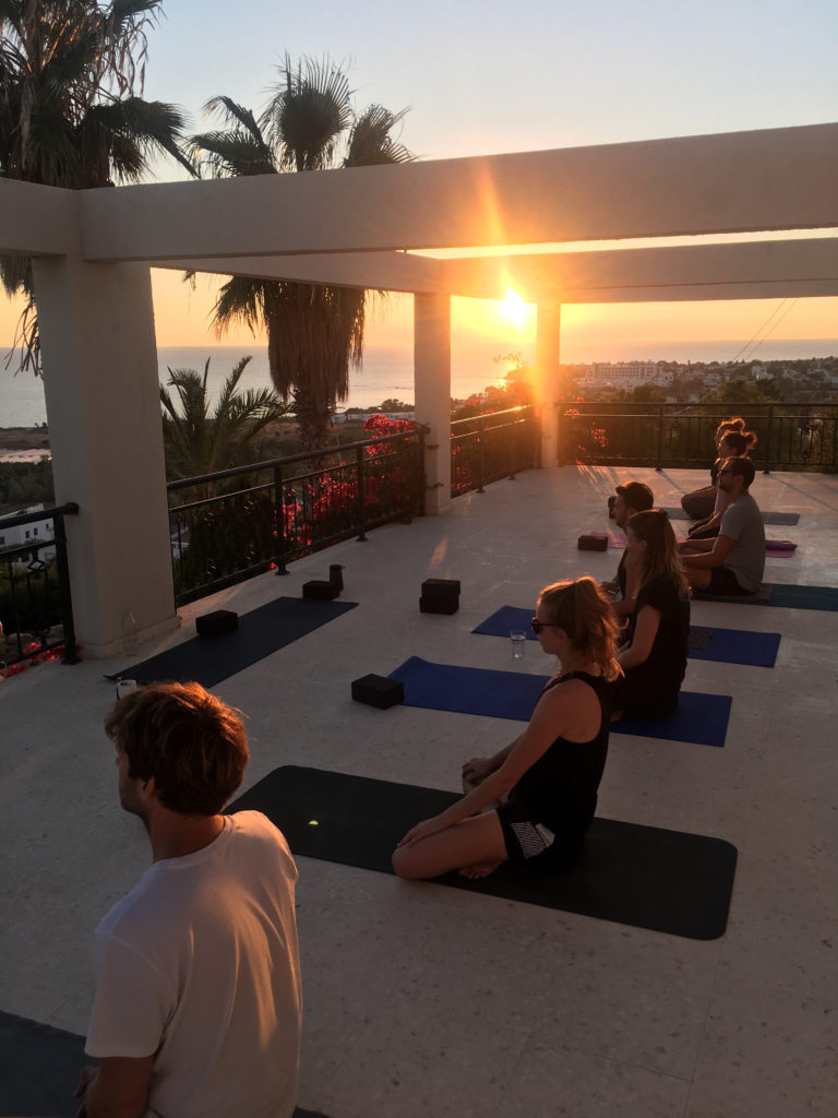Private yoga class in Paphos with sunset